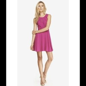 Express Pleated Keyhole Fit And Flare Dress 10